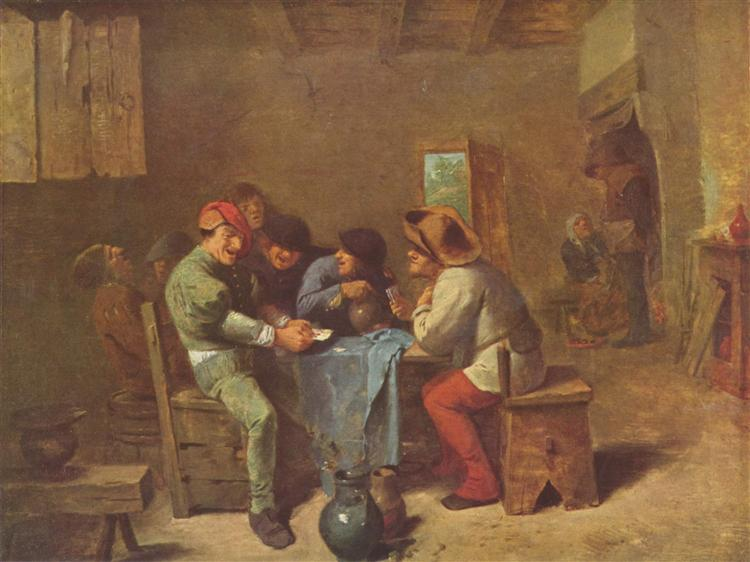 Peasants playing cards in a tavern, c.1635 - Adriaen Brouwer