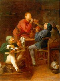 The Smokers or The Peasants of Moerdijk - Adriaen Brouwer