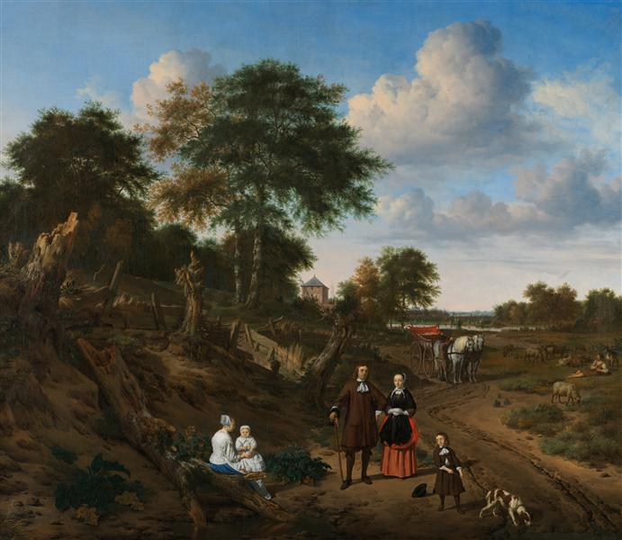 Portrait of a couple with two children and a nursemaid in a landscape, 1667 - Adriaen van de Velde
