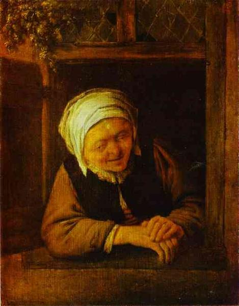An Old Woman by Window, c.1640 - Adriaen van Ostade