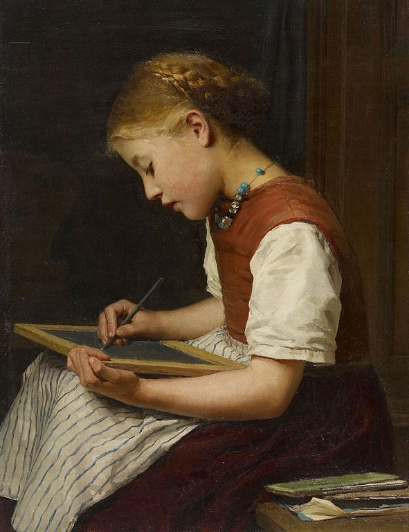 Schulmädchen bei den Hausaufgaben, 1879