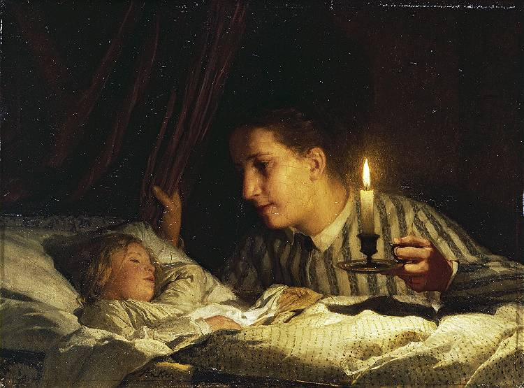 Young mother contemplating her sleeping child in candlelight, 1875