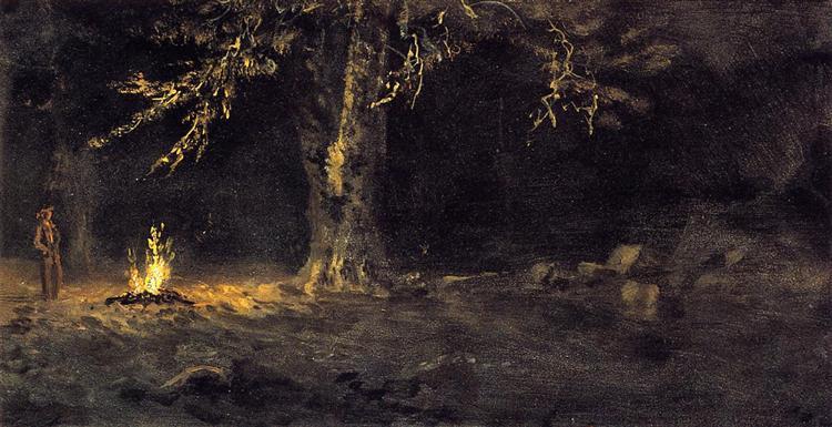 Campfire, Yosemite Valley - Albert Bierstadt