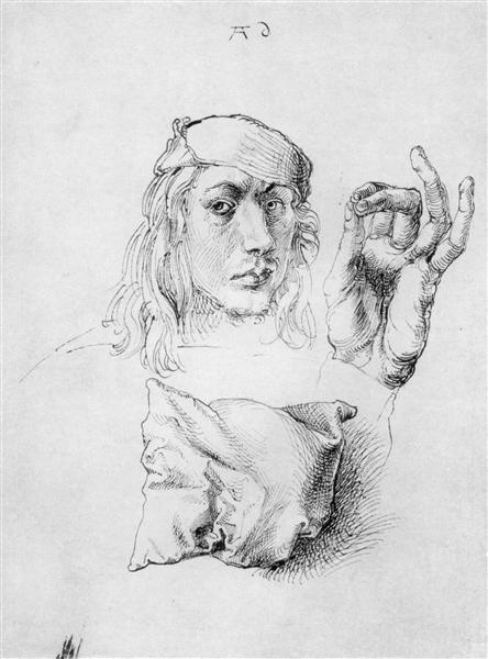 Study sheet with self-portrait, hand, and cushions, 1493 - Albrecht Durer