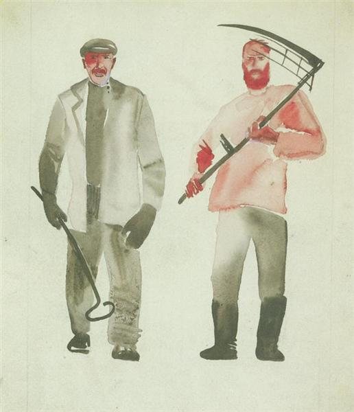 Worker and peasant, 1927 - Aleksandr Deyneka