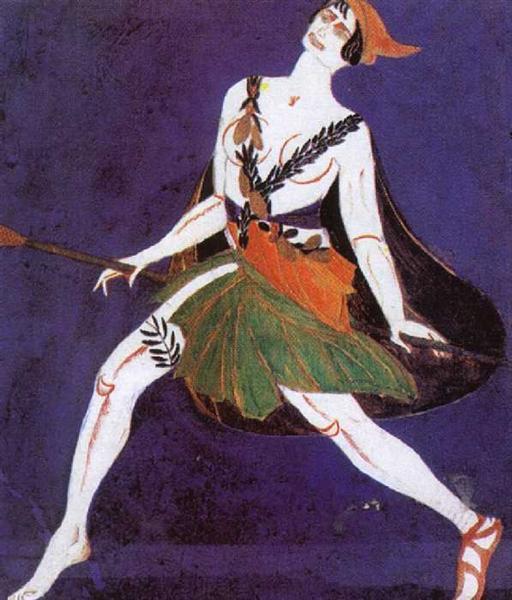 """Costume Design for the play """"Famira Kifared"""" by Innokentiy Annenski. Maenad., 1916 - Aleksandra Ekster"""