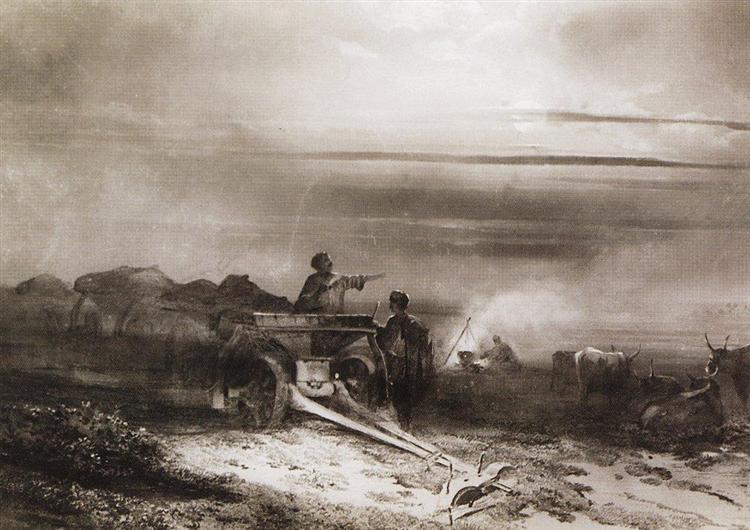 Bivouac in the desert convoy Chumakov, 1867 - Aleksey Savrasov