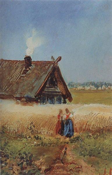Kutuzovskaya hut at Fili, c.1860 - Aleksey Savrasov