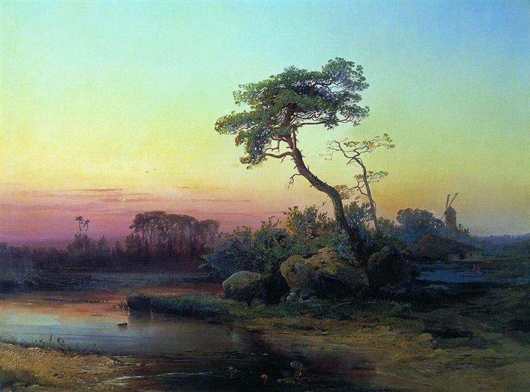 Landscape with pine, 1854 - Aleksey Savrasov