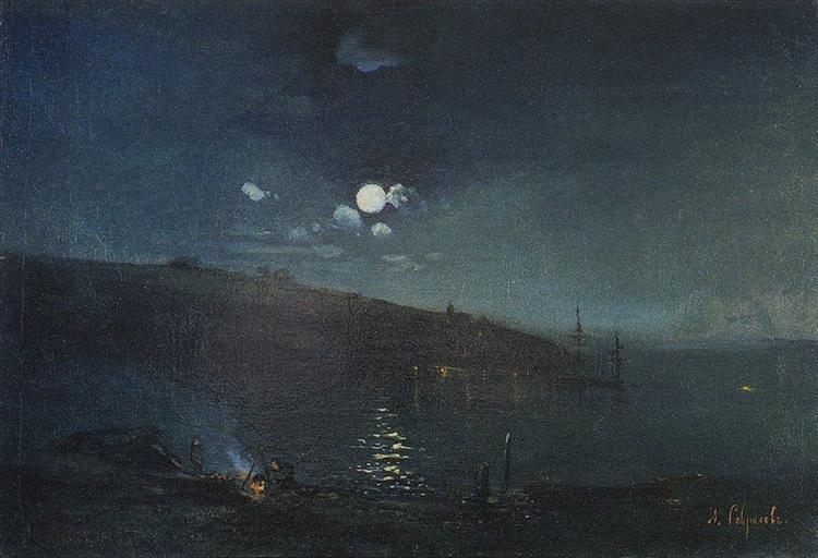 Moonlit night.Landscape with fire, 1880 - c.1890 - Aleksey Savrasov