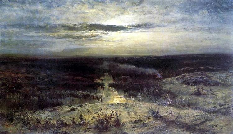 Moonlit night. Marsh, 1870 - Aleksey Savrasov