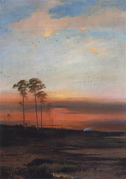 Sunset, c.1870 - Alexei Kondratjewitsch Sawrassow