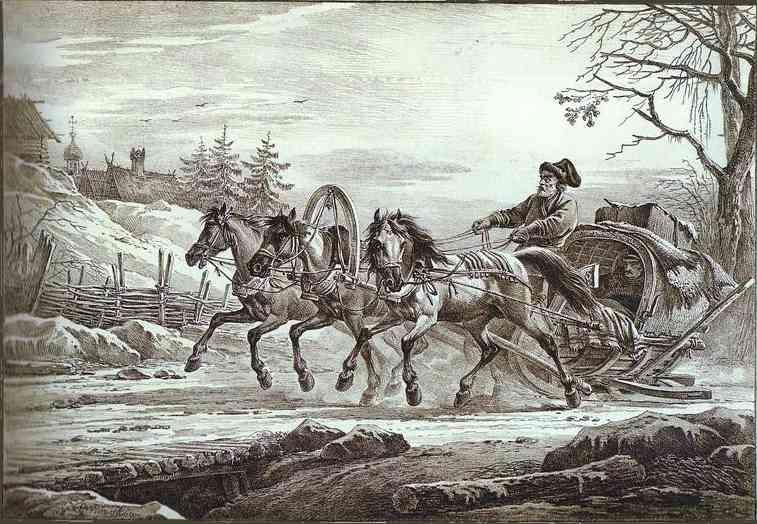 A Traveler in a Kibitka (Hooded Cart or Sledge), 1819