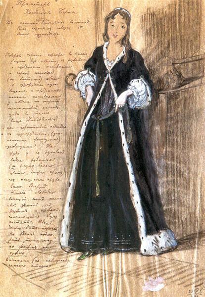 Bertha. Costume design for Vera Komissarzhevskaya., 1908 - Alexandre Benois