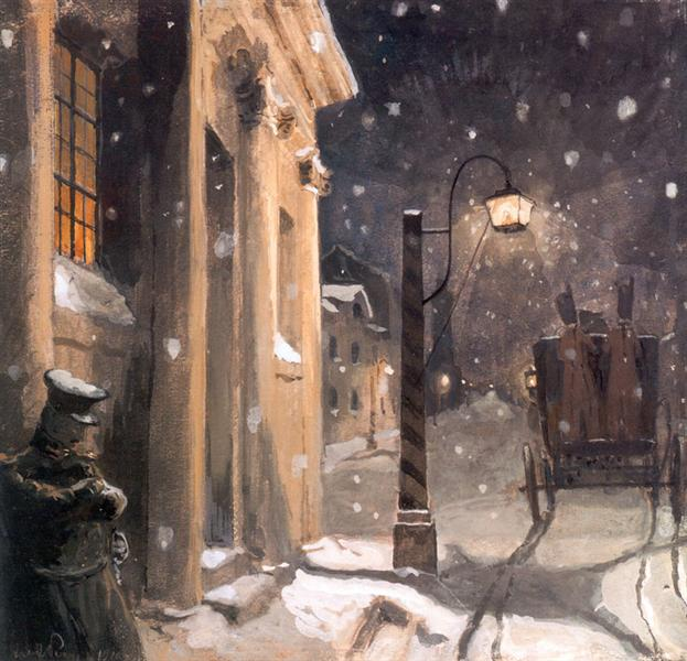 Hermann at the entrance to the countess, 1910 - Alexandre Benois