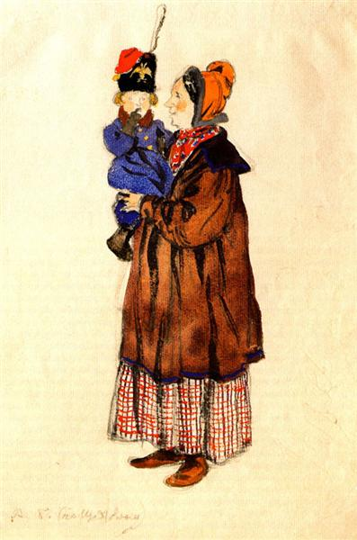 Nurse and child. Costume design, 1911 - Alexandre Benois