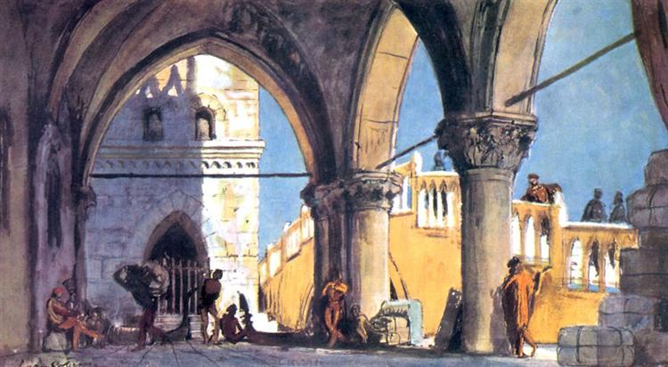 """On the waterfront. Set Design for Shakespeare's drama """"The Merchant of Venice"""", 1920 - Alexandre Benois"""