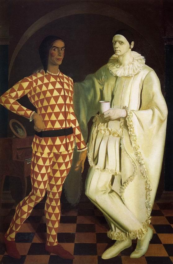 Self-Portraits (Harlequin and Pierrot) - with Vasiliy Shukhaev, 1914