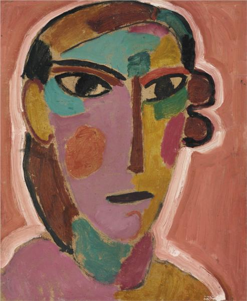 Mystischer Kopf: Frauenkopf auf rotem Grund, 1917 - Alexej von Jawlensky