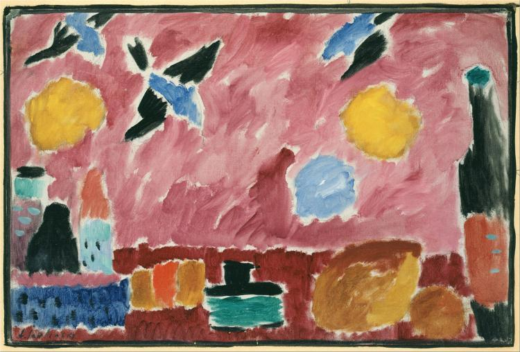 Still Life with Bottle, Bread and red Wallpaper with Swallows - Alexej von Jawlensky