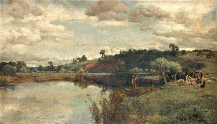 River Scene with a Shepherd and Sheep by a Ferry, 1900 - Alfred Parsons