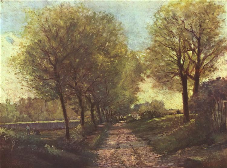 Avenue of trees in a small town, 1866 - Alfred Sisley