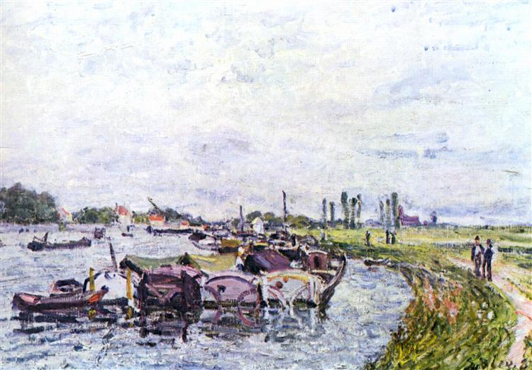 Barges at Saint Mammès, 1885 - Alfred Sisley
