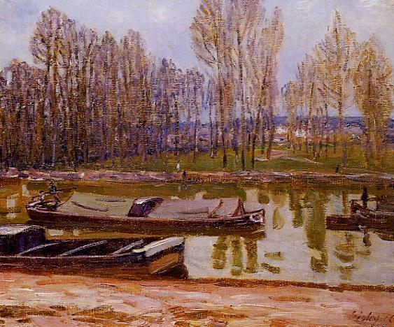 Barges on the Loing Canal, Spring, 1896 - Alfred Sisley