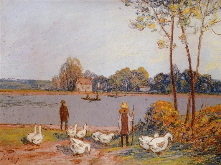 By the River Loing, c.1896 - Alfred Sisley