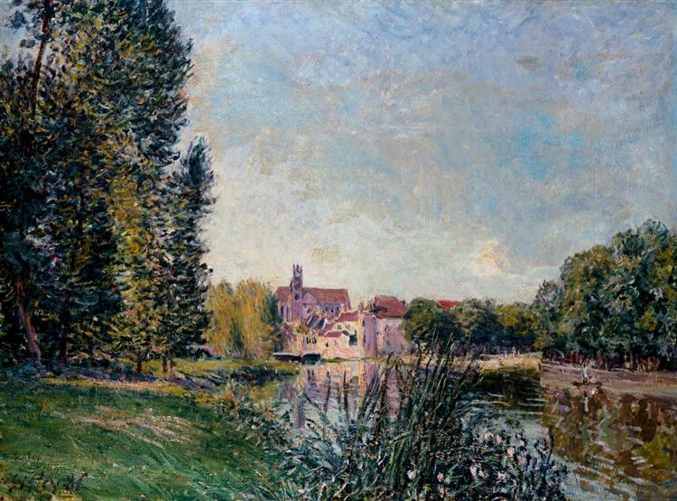 Loing River and Church at Moret, 1886 - Alfred Sisley