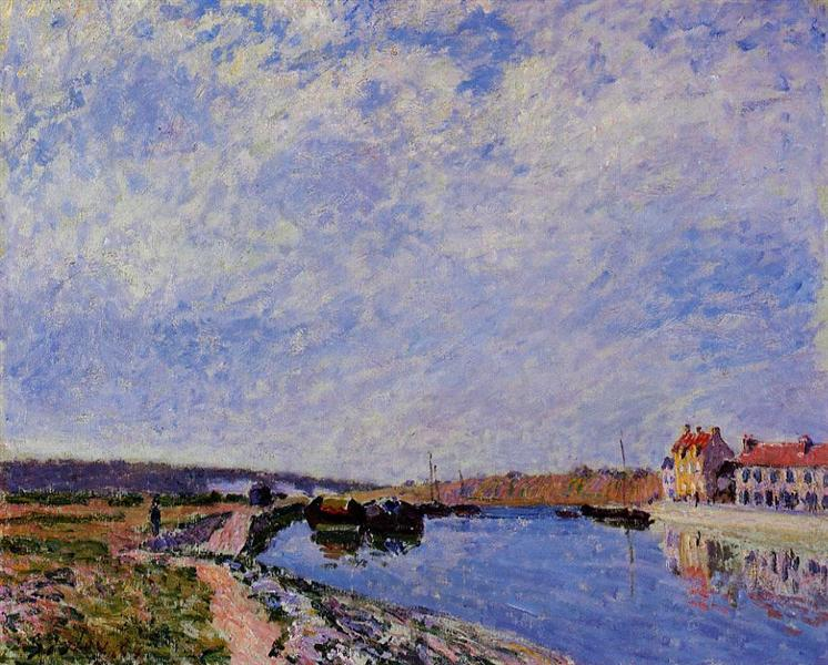 The Barge Port and Saint Mammes, 1884 - Alfred Sisley