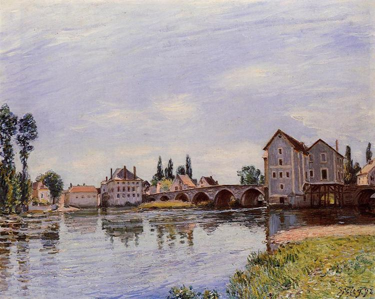 The Loing Flowing under the Moret Bridge, 1892 - Alfred Sisley