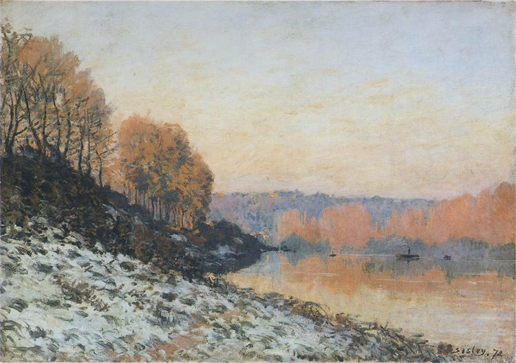 The Seine at Bougival in Winter, 1872 - Alfred Sisley