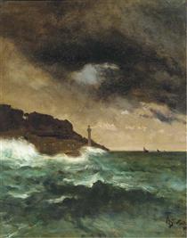Lighthouse at dusk - Alfred Stevens