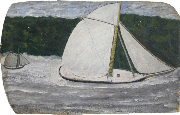 Boat with a Yellow Mast in Full Sail - Alfred Wallis