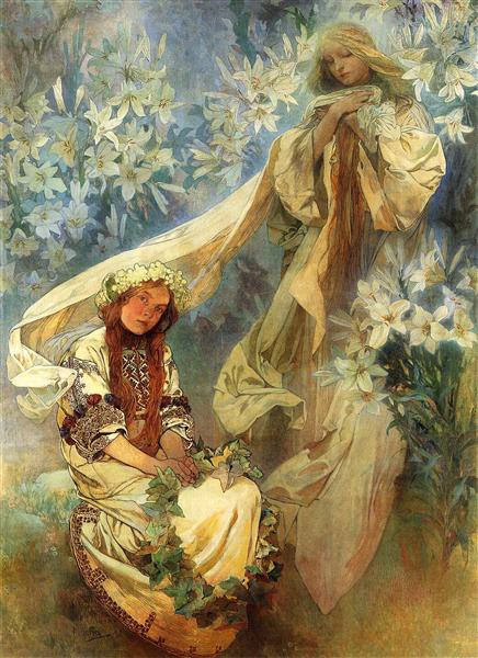 Madonna of the Lilies - Alphonse Mucha