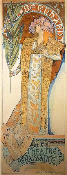 Poster for Victorien Sardou`s Gismonda starring Sarah Bernhardt at the Théâtre de la Renaissance in Paris, 1894 - 慕夏