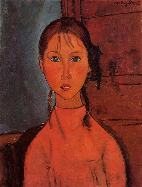 Girl with Pigtails, 1918 - Amedeo Modigliani
