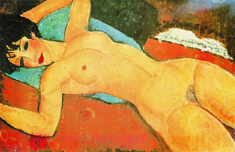 Sleeping Nude with Arms Open (Red Nude) - Modigliani Amedeo