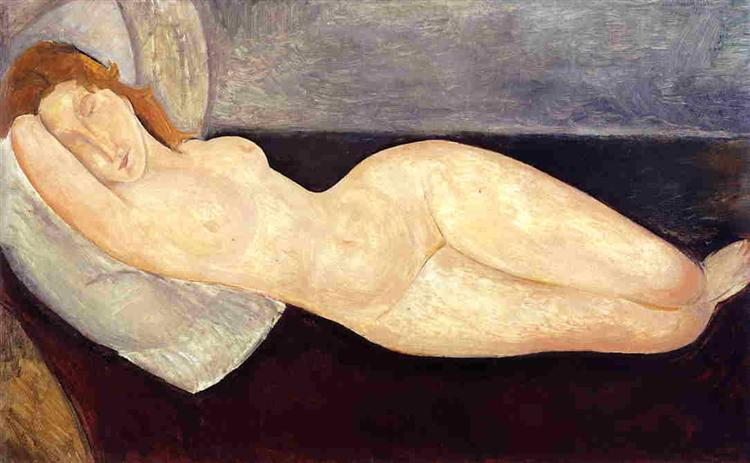 Reclining nude with head resting on right arm, 1919 - Amedeo Modigliani