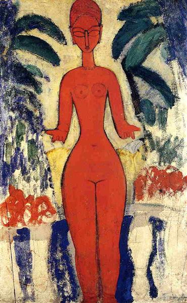 Standing nude with Garden Background, 1913 - Amedeo Modigliani