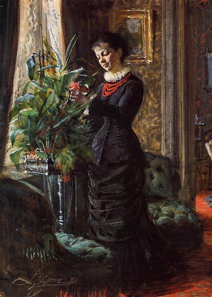 Portrait of Fru Lisen Samson, nee Hirsch, Arranging Flowers at a Window, 1881 - Anders Zorn