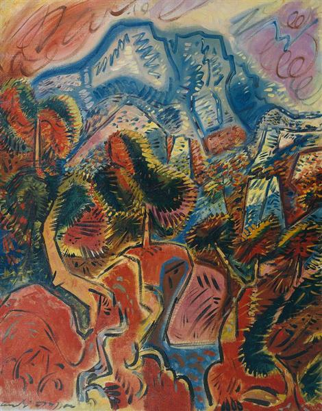 The Red Lands and the Montagne Sainte Victoire, 1948 - Andre Masson