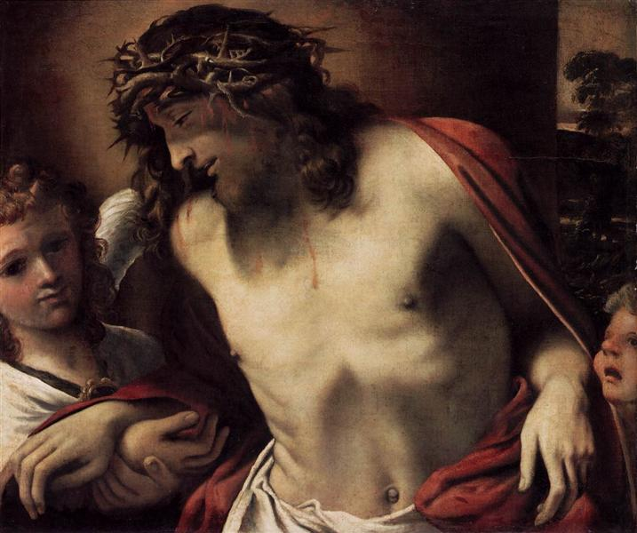 Christ Wearing the Crown of Thorns, Supported by Angels - Carracci Annibale