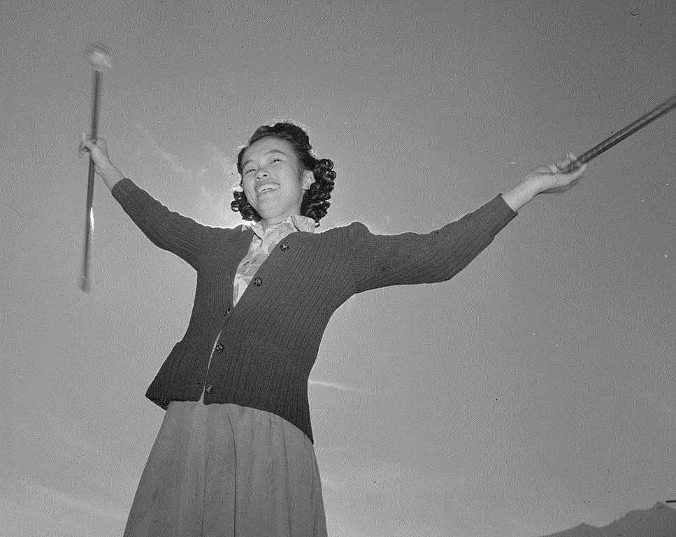 Baton practice at the Manzanar War Relocation Center, 1943