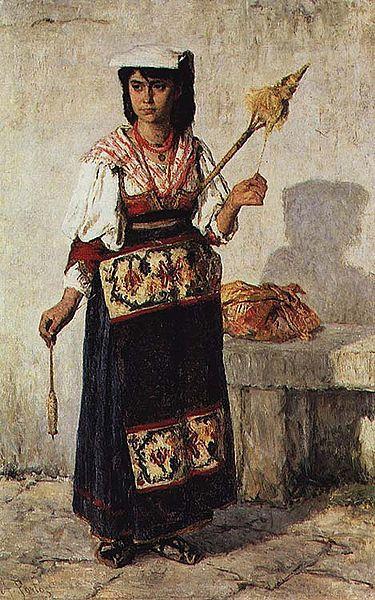 Pequena Fiandeira Napolitana, 1877 - António de Carvalho da Silva Porto