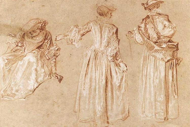 Three Studies of a Lady with a Hat, c.1715 - Antoine Watteau