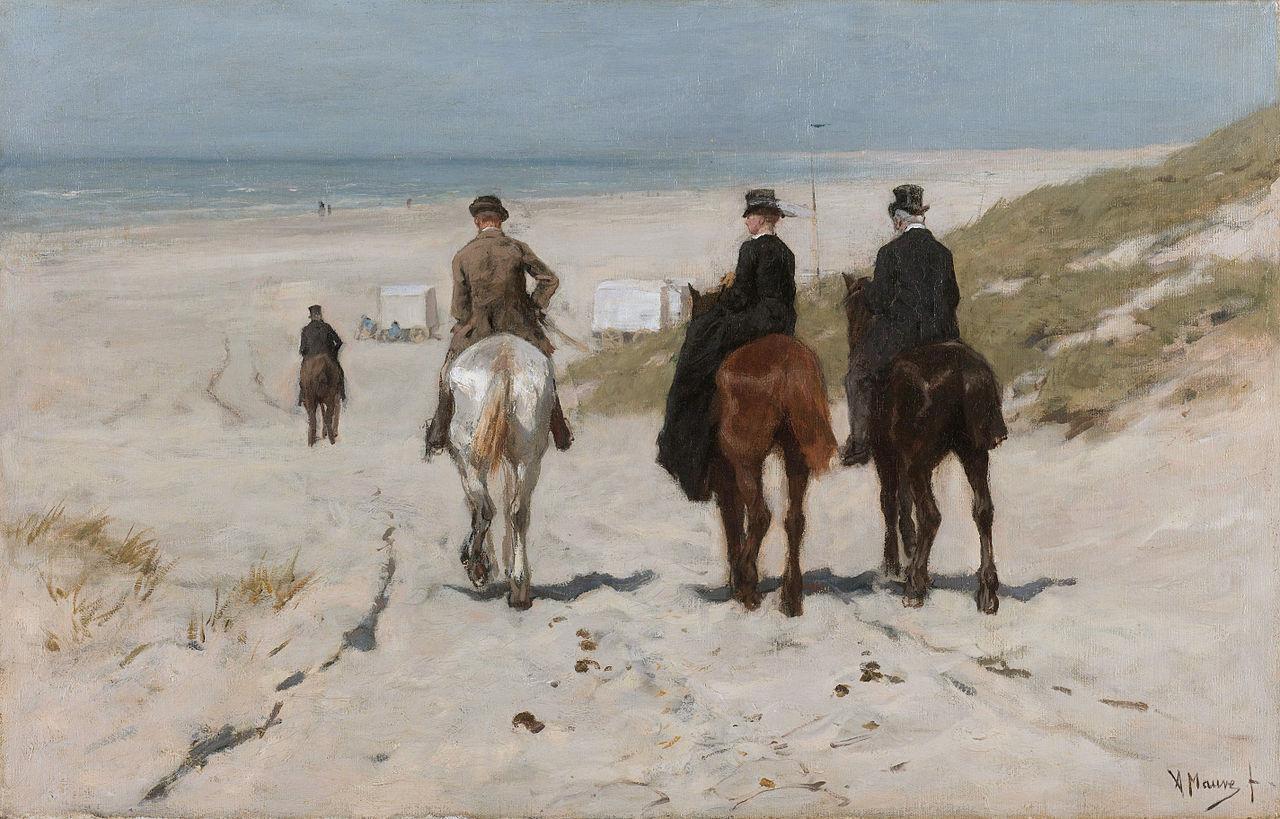 morning ride on the beach 1876 - Rijksmuseum Behang
