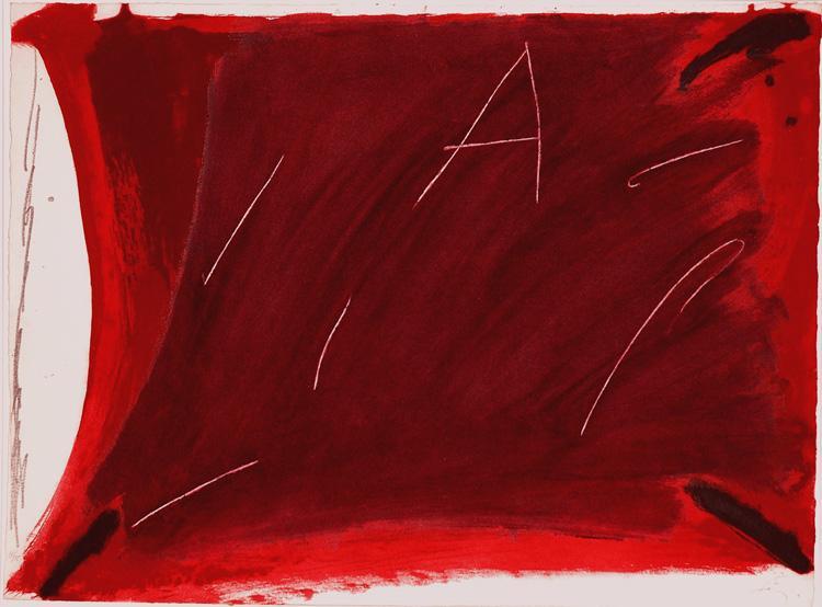 Negre i roig V: A damunt vermell, 1976 - Antoni Tapies