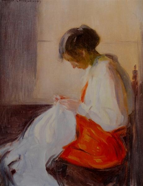Rapariga Costurando, 1917 - Antonio Carneiro